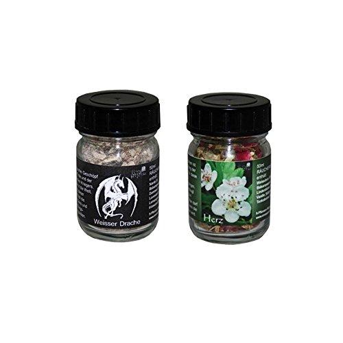 flora perpetua Thomas Kinkele e.K. Räucherung Räuchermischung 2er Set Weisser Drache und Herz, in 50 ml Glasfläschchen