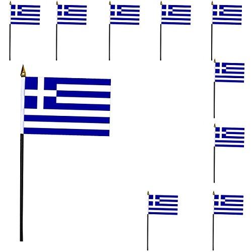 Sonia Originelli 10er Set Mini Flaggen WM Fußball 10x15 cm Party Anfeuern Fahnen Farbe Griechenland