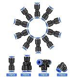 40 Stücke Push In 6mm Pneumatik Steckverbinder Pneumatische Verbinder 4 Form, gerade Pneumatik Steckverbinder/Gerade/Ellbogen/T förmig/Y-Verbinde