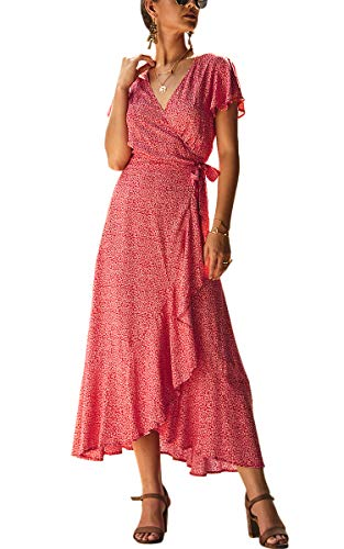 Spec4Y Damen Boho Lange Kleider V-Ausschnitt Sommerkleider Kurzarm Wickelkleid Maxikleid Strandkleid mit Schlitz Weinrot S