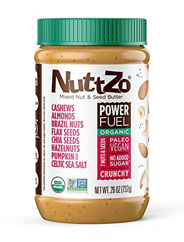 Organic Power Fuel Crunchy Nut Butter by NuttZo   7 Nuts & Seeds...