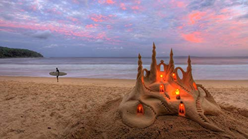 KCHUEAN Jigsaw Puzzles For Adults 1000 Piece Beach Sand Sea Sand Castle Candles Wooden Assembling Decoration For The Home Toy Game Educational Toy For Kids And Adults