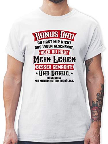Vatertagsgeschenk - Bonus Dad - rot/schwarz - 3XL - Weiß - Papa - L190 - Tshirt Herren und Männer T-Shirts