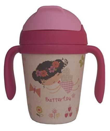 Bambusbecher für Kinder mit Trinkhalm Kanne mit Henkel, Deckel und Tülle aus Bambusfaser 300 ML - Öko Flasche, Ideal für Babys - Umweltfreundlich Becher, Ókologische (BPA-frei) - Spülmaschinenfest