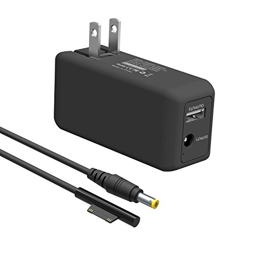 Microsoft Surface Pro Charger,BND 65W Portable Mini Charger for Microsoft Surface Pro 3 4 5 6 2017 Tablet/Surface Laptop/Surface Book/Surface Go, W/ 6.6ft Power Cord & USB Charging Port