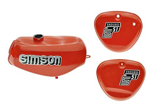 Tank Set mit Seitendeckel S51E Enduro Flammrot versiegelt mit Aufkleber Simson