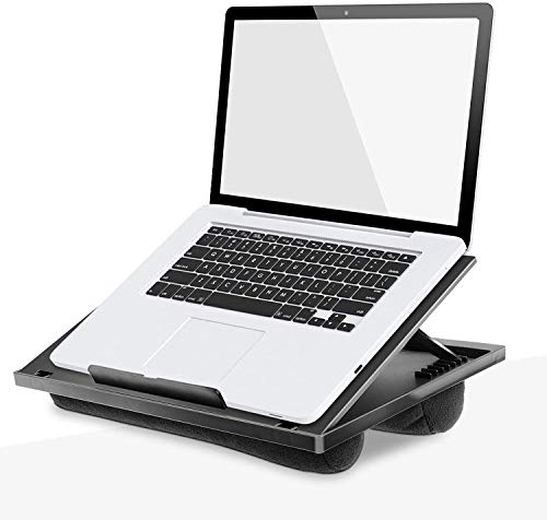 HUANUO Laptop Monitor Stand with Cushion for Bed - Flexibly Adjustable with 8 Angles, For Notebook, Tablet, Laptop up to 15,6', Portable Tray Table & Suitable for Travel, Work, Home