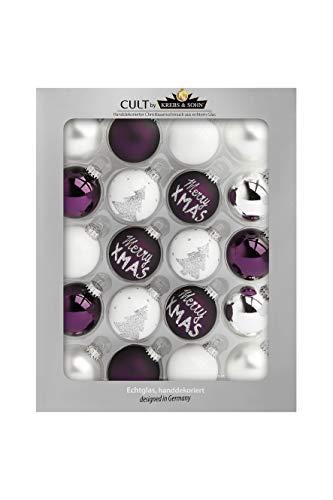 KREBS & SOHN 20er Set Glaskugeln - Weihnachtsbaumschmuck zum Aufhängen - Christbaumkugeln - Weiß, Lila, Silber