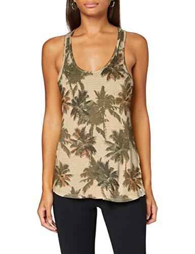 Superdry Desert Linen Vest Camiseta sin Mangas, Multicolor (Vintage Palm Q0q), L para Mujer