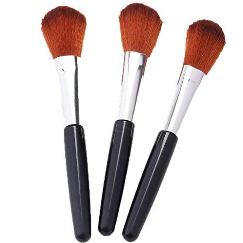 Trois pinceaux de maquillage, parfaits pour mélanger des produits de beauté sous forme de poudre liquide, crème ou sans défaut - polissage, pointillage, correcteur - soies denses synthétiques de quali