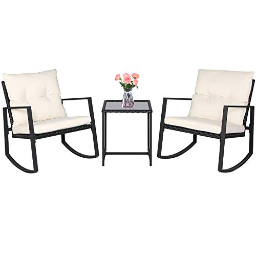 SUNCROWN Outdoor 3-Piece Rocking Bistro Set: Black Wicker Furniture-Two Chairs...