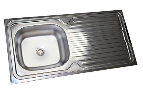 Edelstahl Küchenspüle Edelstahlspüle Aufsatzspüle Küchen Spüle Spülbecken 50x100 ohne Loch für Armatur