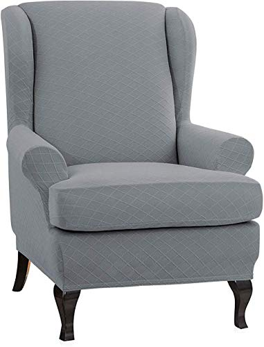 JIAYOUFC Rhombus Jacquard Wing Chair Cover Elastic Universal Stretch Soft JIAYOUFC Sofa Slipcovers JIAYOUFC Velvet Plush Sofa Slipcovers 2-Piece Wingback Armchair Covers with Removable Arms Slipco
