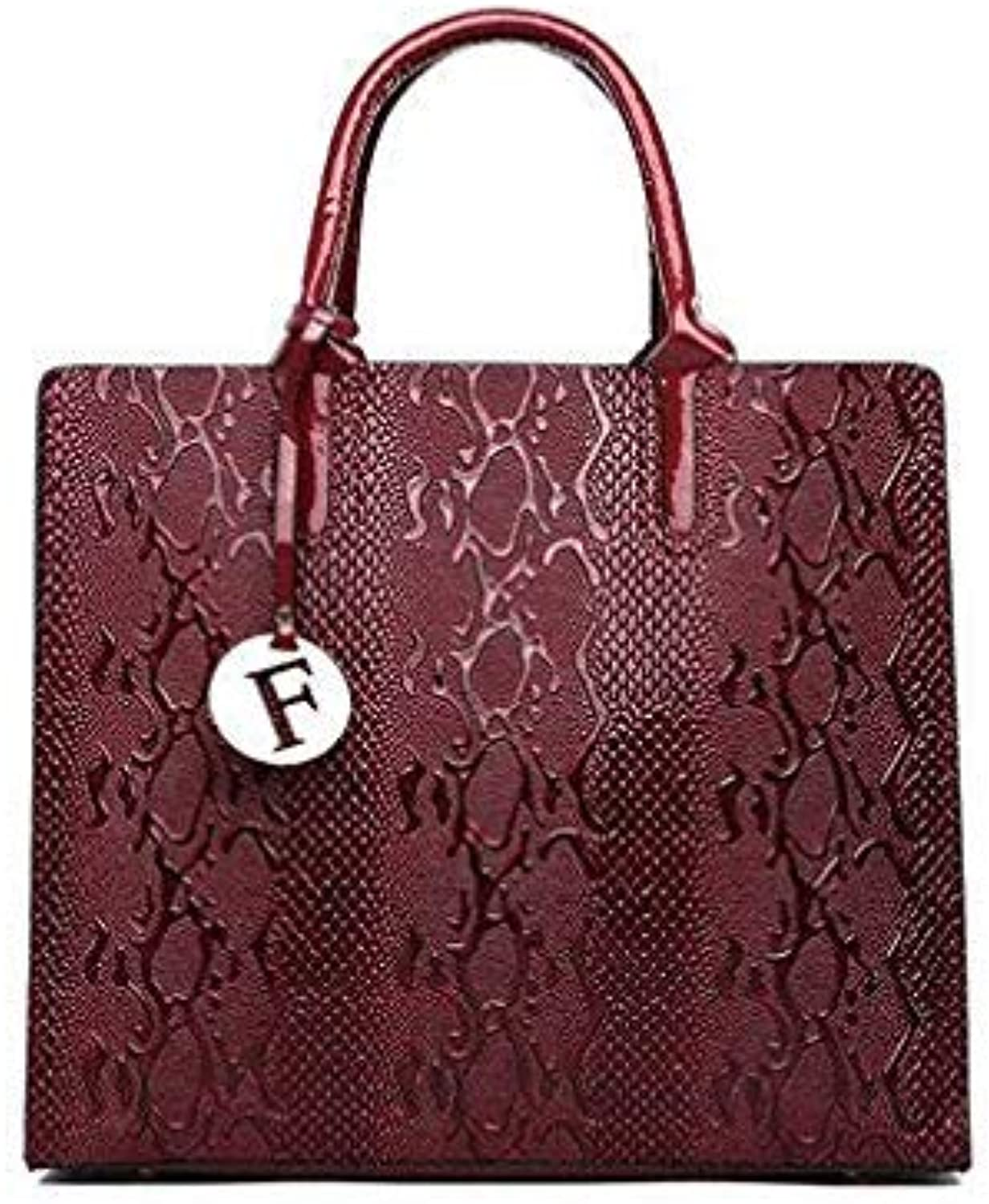 Bloomerang 3Pcs Snake Serpentine Women Handbags Set High Quality Pu Leather Shoulder Tote Bag+Chain Female Messenger Bags+Mini Clutch Purse color red-01 32cm