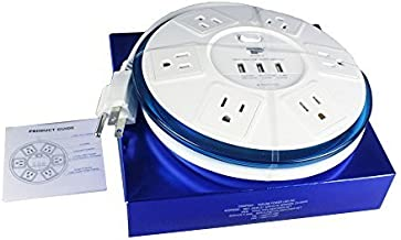 TP UFO Slim Design 6-Outlet Clear-Blue Round Power Center, 3 Quick Charging USB Ports, 4-Ft Heavy Duty Power Cord, Tabletop Surge Protector EMI-/RFI-Filter for Home Office Meeting Room UL Listed