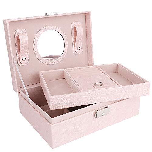 MINGZE Joyero - Joyero Organizador de con Espejo,PU Caja Almacenamiento de Joyas de Pendientes, Anillos, Pulseras, Collares, Relojes, Regalo del para Las Mujeres (Rosa Claro)