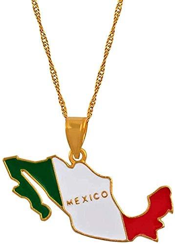 Yiffshunl Collar de Moda con Colgante de Esmalte de Color y Mapa de México para Mujer Collar de joyería con Collar Mexicano de Color Dorado