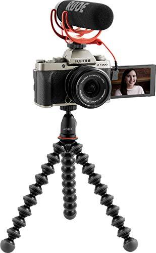 Fujifilm X-T200 Vlogger Kit Fotocamera Digitale Mirrorless 24 MP in KIT con Obiettivo XC15-45 mm, Rоdе VіdеоМіс Gо, Јоbу Kit GorillaPod 1K, SDHC 16 GB, Gold