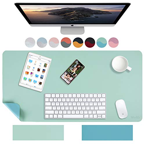 """Weelth Multifunctional Office Desk Pad, 35.4"""" x 17"""" Waterproof Desk Pad Protector PU Leather Dual-Sided Desk Writing Pad for Office/Home (Calamine Blue/Cobalt Green, 35.4"""" x 17"""")"""