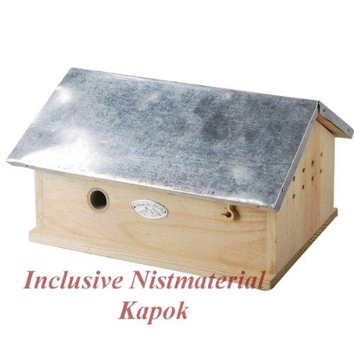 Hummelhaus inclusive Nistmaterial (Kapok und Späne ) Nistkasten Hummel-Hotel Brutkasten-Holz Neu