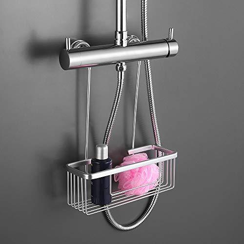 Pack Ahorro 2 Portagel cesta de ducha y bañera GAR rectangular sin taladros ni adhesivos, de aluminio acabado en cromo brillo. Sujección ganchos con protectores de silicona. Pack 2 unidades