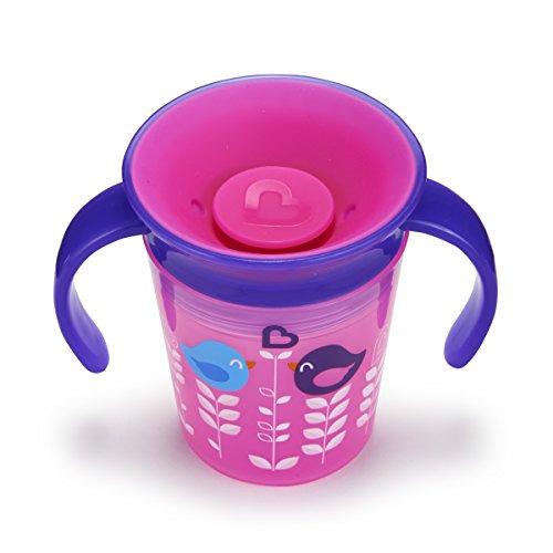 Munchkin Miracle 360ᵒ Deko-Trinklernbecher mit Griffen, rosa mit Vogelmotiv, 177 ml