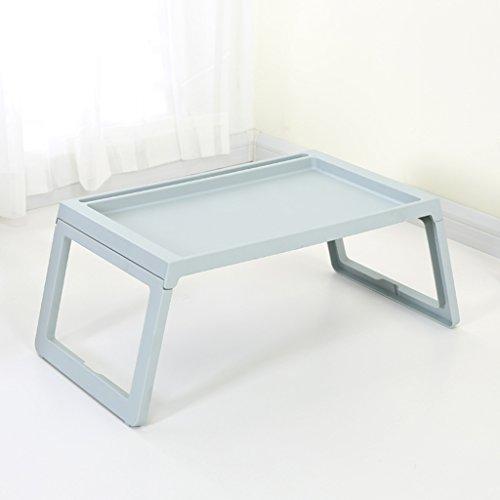 Bao Xing Bei Firm Ordinateur Portable Bureau Lit Pliant Paresseux Étudiant Dortoir Bureau Écriture Petite Table en Plastique Simple Simple (Color : Soot Blue)
