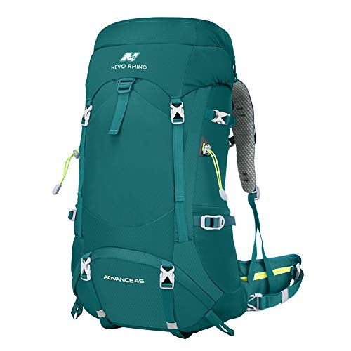 NEVO RHINO 50L/60L/80L Internal Frame Backpack,Ultralight waterproof Daypack for Hiking, Camping (A-green-upgrade-45/50L)