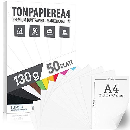 50 WEISS Tonpapier 130g/m² – PREMIUM PAPIER Reinweiß - Schneeweiß - DIN A4 - 21 x 29,7 cm - Druckerpapier Weiss unbedruckt für Fotografie, Präsentationen,Basteln, Scrapbooking - MADE IN GERMANY