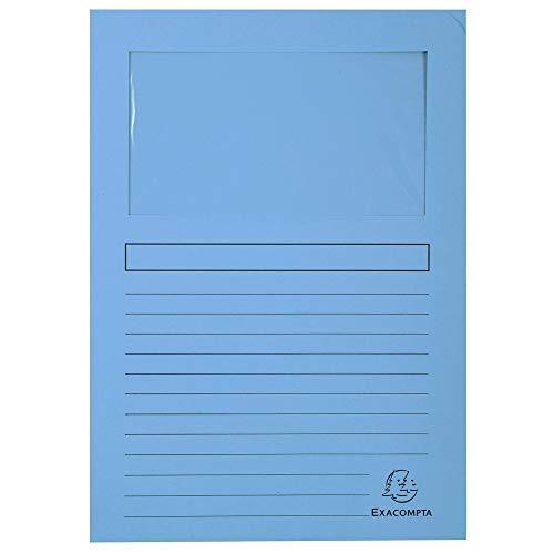 Exacompta 50106E - Lote de 100 Subcarpetas Forever 120 con ventana e impresas, Color Azul Claro