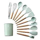 Utensilios para cocinar 9/10 / 12pcs Herramientas Set Premium silicona Cocina Utensilios Set con caja de almacenamiento Turner Pinzas Espátula sopa de cuchara de cocina (Color : Green 12pcs)