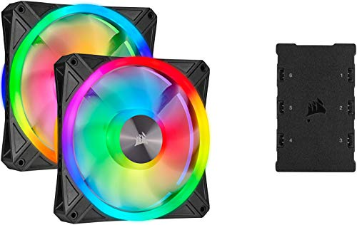 Corsair iCUE QL140 RGB, 140-mm-RGB-LED-PWM-Lüfter (68 Einzeln Ansteuerbare RGB-LEDs, Schwindigkeiten Bis zu 1,250 U/Min, Geräuscharm) 2er-Pack mit Lighting Node Core - schwarz