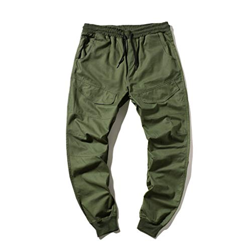 Best Deals! Men's Personality Casual Solid Color,Fxbar Lace-up Stretch Pants Sweatpants Trousers(G...