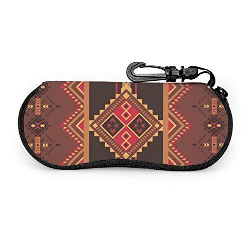 Patrón étnico azteca nativo americano gafas caso caso gafas gafas con clip cinturón cremallera portátil gafas bolsa