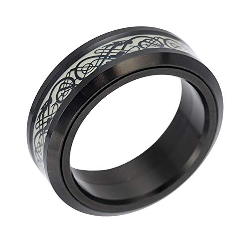 Luminous Black Celtic Dragon Spinner Rings - Carbide Fiber Celtic Dragon Ring, Stainless Steel Fidget Band Rings, Glow in The Dark Band Spins Jewelry Gift for Men Women Wedding Promise (Black, #7)