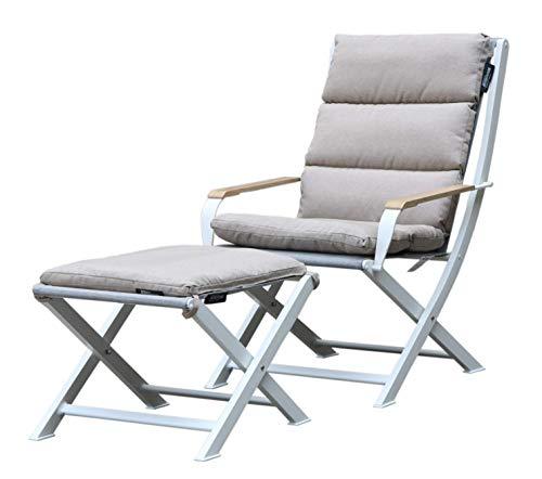 Westfield extérieur Ambre Pliante Fauteuil de Salon et Repose-Pieds avec rembourré Cushions-Lightweight, mais Robuste Cadre Prend en Charge jusqu'à 120 kg Ensemble de Meubles de Jardin L White/Beige