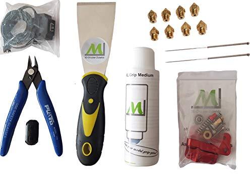 ML 3D-Drucker Zubehör Starter-Set 16 tlg. Filament säuberer, Filament Sensor, Bowden Extruder, Düsen und vieles mehr, so werden Sie Profi in Ihrem Hobby.