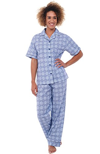 Alexander Del Rossa Women's Lightweight Button Down Pajama Set, Short Sleeved Cotton Pjs, Large Blue Moroccan Tile (A0518V56LG)