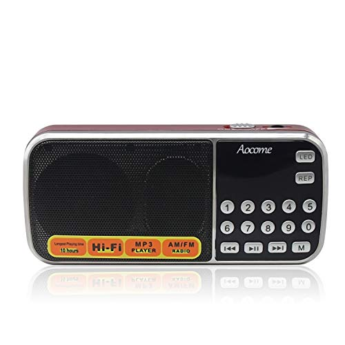 AM FM Radio Portable, Mini Digital Radio Speaker Music Player with Best Reception, Automatic/Manual Search, Radio with Micro SD/TF Card Slot, USB Rechargeable Battery, by Aocome (Red)