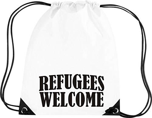 Shirtstown Gymsack, Refugees Welcome, Bleiberecht, Sprüche Spruch Logo Motiv, Turnbeutel Tasche Sport Beutel, Farbe White