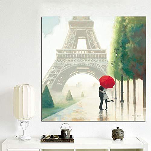 wZUN Impresión HD Paraguas Rojo romántico París Ciudad Torre Eiffel Pintura al óleo póster Cuadro de Pared sobre Lienzo 60x60 Sin Marco