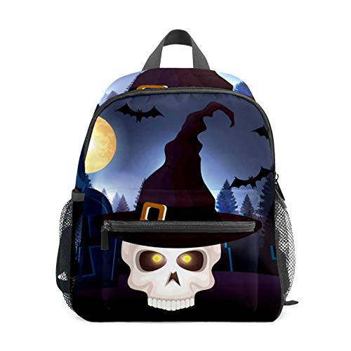School Backpack for Kid Girls Boys,Student Bookbag Casual Daypack Travel Children Bag Organizer for Camping Hiking Gift Halloween Skull with Hat
