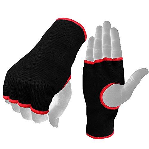 Boom Prime - Guantes interiores para boxeo, elásticos con medio dedo bajo manoplas para entrenamiento de artes marciales, kickboxing, Unisex adulto, color negro, tamaño L./XL