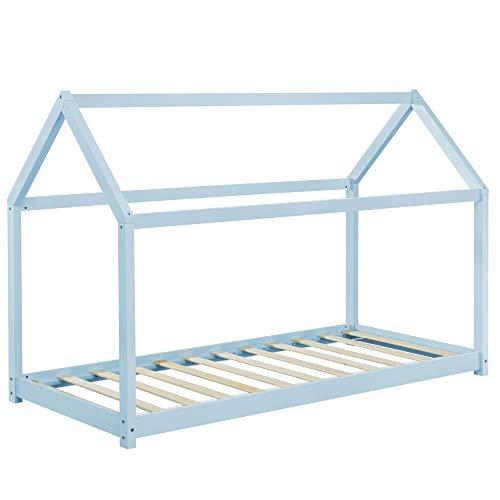 Cama monessori azul para colchón de 90 x 200 cm