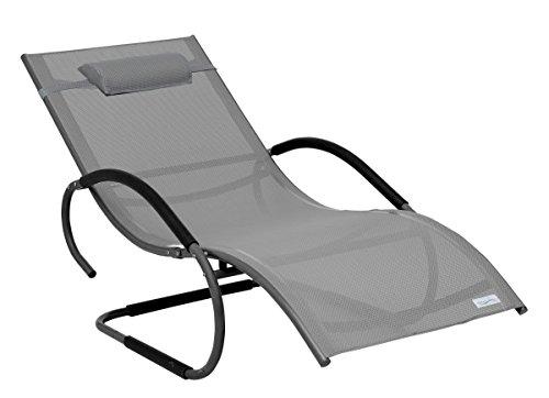 Meerweh Luxus XXL Aluminium Schwingliege Swingliege Gartenliege Sonnenliege grau