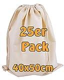 Cottonbagjoe - Sacchetto di cotone | grande | Borsa in tessuto | Zero Waste | con coulisse | per la conservazione | da dipingere | Sacca da ginnastica | 40 x 50 cm | (naturale, 25 pezzi)
