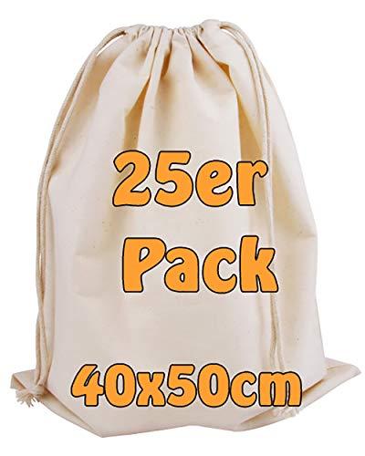 Cottonbagjoe Baumwollbeutel | groß | Stoffbeutel | Zero Waste | mit Kordelzug | zur Aufbewahrung | zum Bemalen | Turnbeutel | 40x50 cm | (Natur, 25 Stück)
