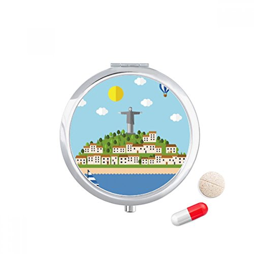 DIYthinker Mount Corcovado Fire Ballon Brazilië Travel Pocket Pill case Medicine Drug Storage Box Dispenser Mirror Gift