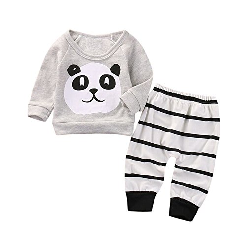 Covermason Bebé Unisex Lindo Panda Impresión Camiseta y Rayas Pantalones (2PCS/1 Conjunto) (0-6M, Gris)