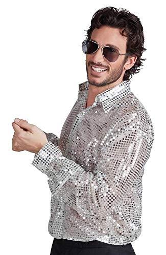 Boland 87143 – Disco-Hemd mit Pailletten, silber